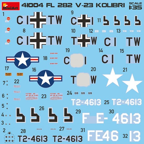 MINIART 41004 Fl 282 V-23 HUMMINGBIRD KOLIBRI PLASTIC MODELS KIT 1/35 SCALE