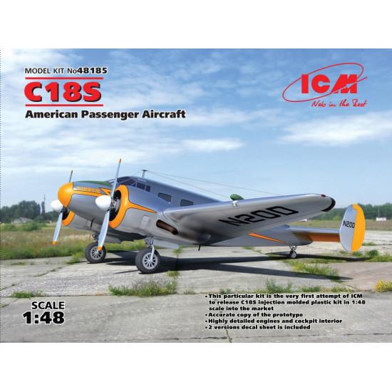ICM 48185 C18S AMERICAN PASSENGER AIRCRAFT PLASTIC MODEL KIT 1/48 SCALE