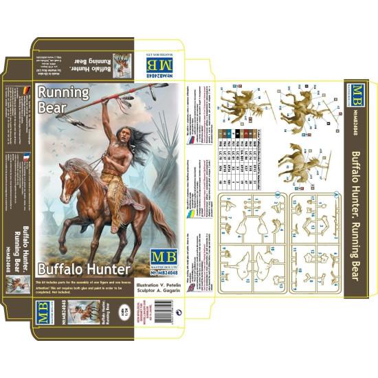 Wild West Indian Wars BUFFALO HUNTER. RUNNING BEAR 1/24 scale MASTER BOX 24048