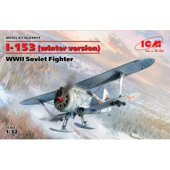 ICM 32011 - I-153 (winter version), WWII Soviet Fighte - 1/32 scale model 195 mm
