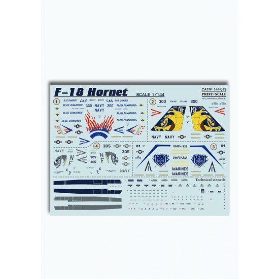 DECAL FOR AIRPLANE F-18 HORNET 1/144 PRINT SCALE 144-019