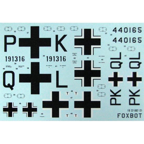 DECAL FOR MESSERSCHMITT ME 163 KOMET 1/32 Scale Foxbot 32-002