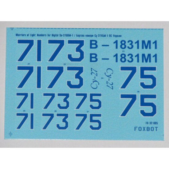 DECAL FOR NUMBERS FOR SUKHOI SU-27UBM UKRANIAN AIR FORCES 1/32 Foxbot 32-005