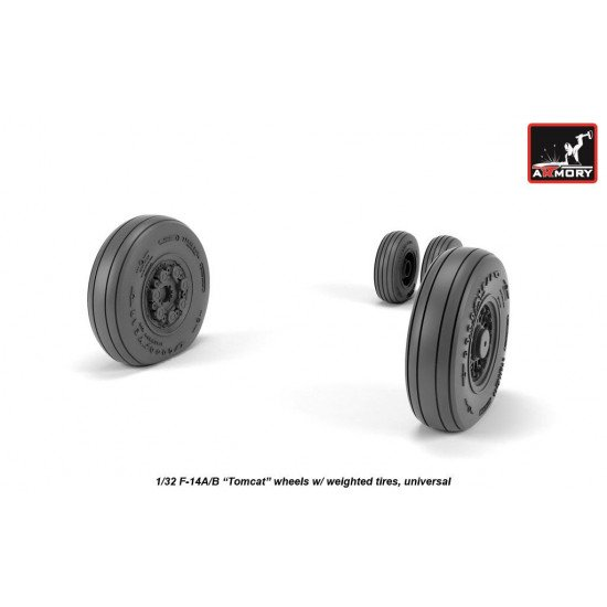 Armory AW32310 - 1/32 1/32 F-14 Tomcat late type wheels w/ weighted tires