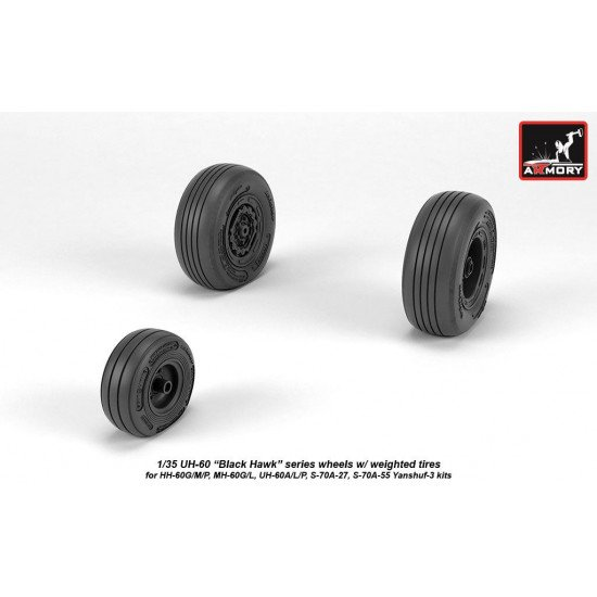 Armory AW35303 - 1/35 - 1/35 UH-60 Black Hawk wheels w/ weighted tires