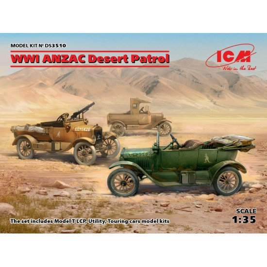 ICM DS3510 - 1/35 WWI ANZAC Desert Patrol (Model T LCP, Utility, Touring)