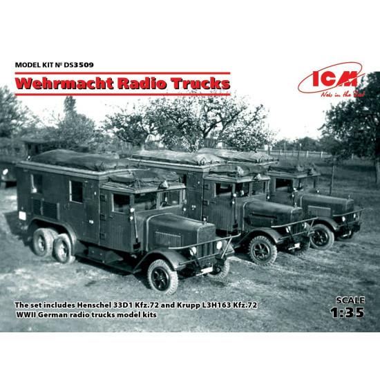 ICM DS3509 - 1/35 Wehrmacht Radio Trucks Henschel 33D1, Kfz.72, Krupp L3H163 Kf