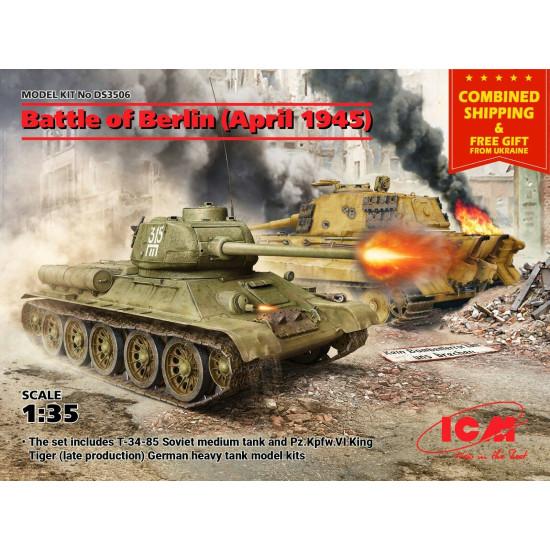 ICM DS3506 - 1/35 Battle of Berlin April 1945 (T-34-85, King Tiger) World War II
