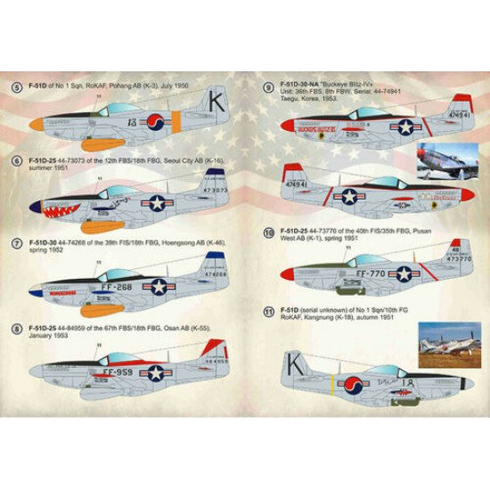 Print Scale 144-022 - 1/144 F-51 Mustang. Units of the Korean War wet decal for aircraft