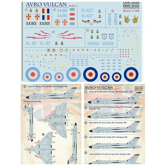 Print Scale 144-023 - 1/144 scale - Avro Vulcan Part 1 Decal for aircraft