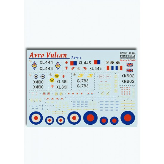 Print Scale 144-024 - 1/144 scale - Avro Vulcan Part 2 Decal for aircraft