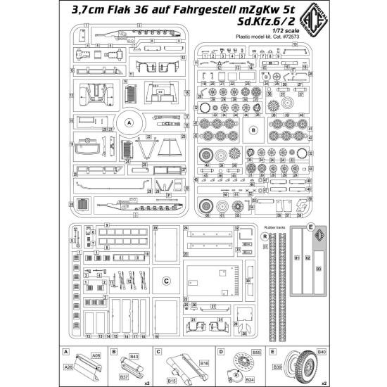 ACE 72573 - 1/72 - 3,7cm Flak 36 auf Fahrgestell mZgKw 5t Sd.Kfz.6/2