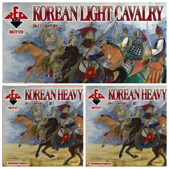 Bundle lot of Red Box Korean Heavy Cavalry XVI-XVII 72120+72121+72122 1/72 scale