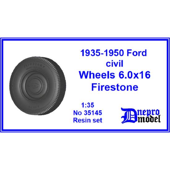 Dnepro Model DM35145 - 1/35, 1935-1950 Ford civil wheels 6.0x16 Firestone