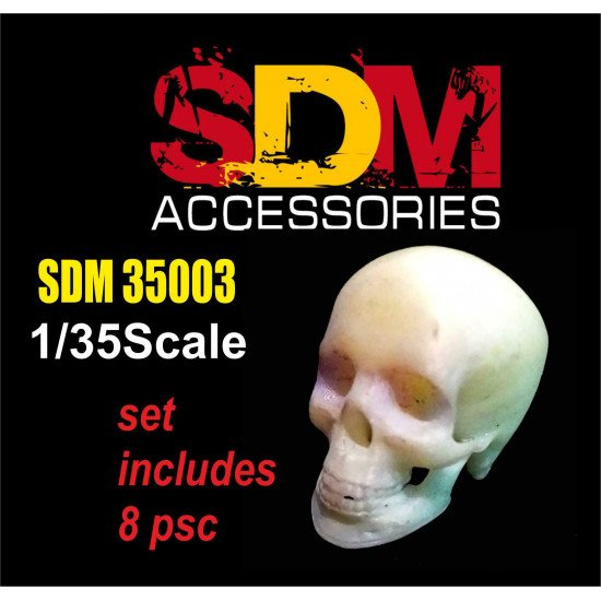 SDM 35003 - 1/35 - Human skull (8 pcs). Acccessories for diorama