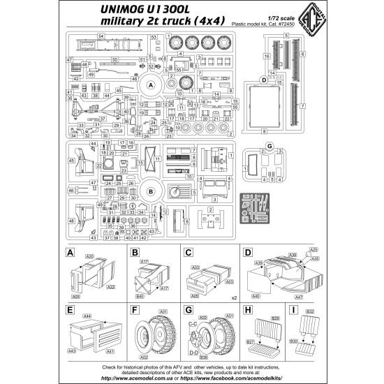 ACE 72450 - 1/72 - UNIMOG U1300L military 2t truck (4x4) 76 mm