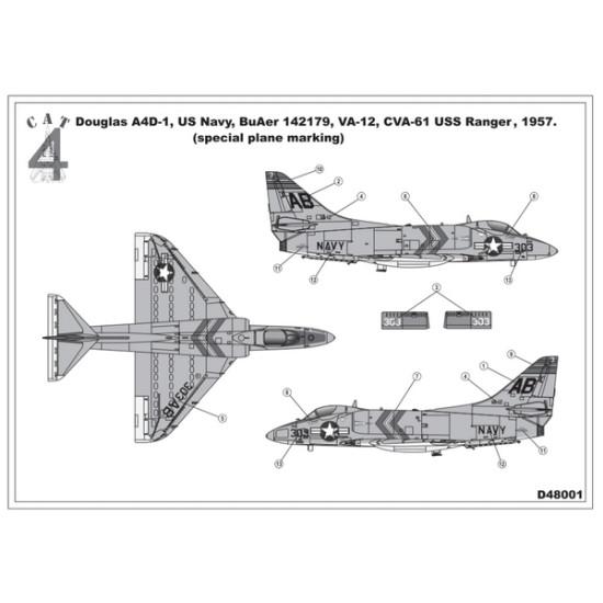 CAT4 D48001 - 1/48 Douglas A4D-1 A-4A Skyhawk Special Plane Marking Decals BuAer