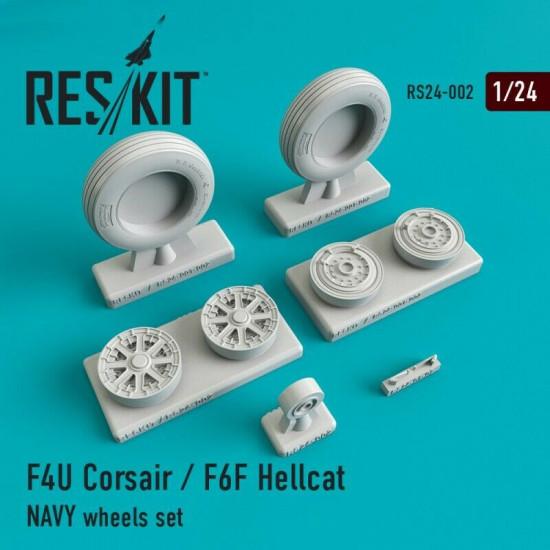 Reskit RS24-0002 - 1/24 - F4U Corsair / F6F Hellcat NAVY wheels set model