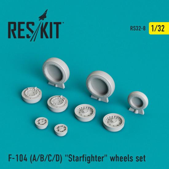 """Reskit RS32-0008 - 1/32 - F-104 (A/B/C/D) """"Starfighter"""" wheels set model kit"""