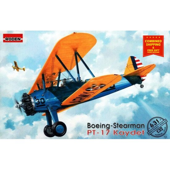 Roden 631 - 1/32 - Boeing-Stearman PT-17 Kaydet. Military aircraft