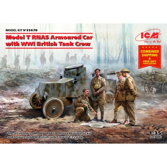 ICM 35670 - 1/35 - Model T RNAS Armoured Car with WWI British Tank Crew
