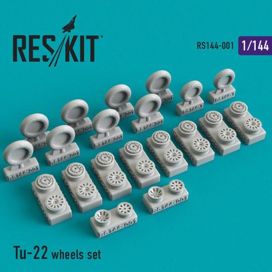 Reskit RS144-001 - 1/144 Tu-22 wheels set scale Upgrade set Resin Detail kit