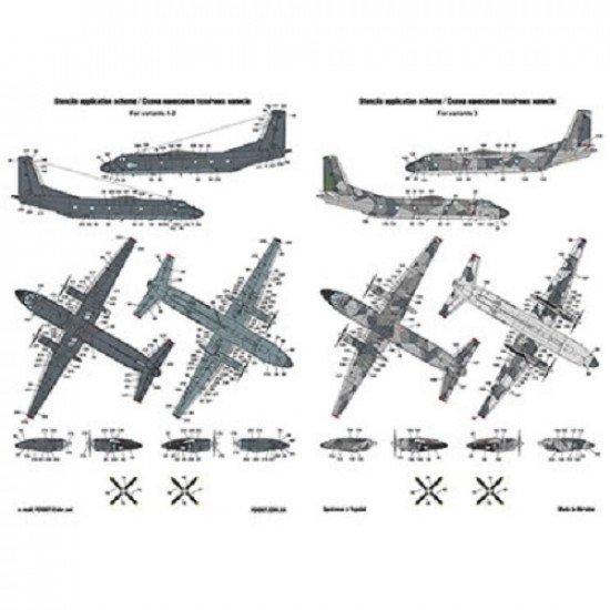 """Foxbot 144-001 Decals for model Antonov AN-26 With """"Teeth"""" 1/144 scale kit"""