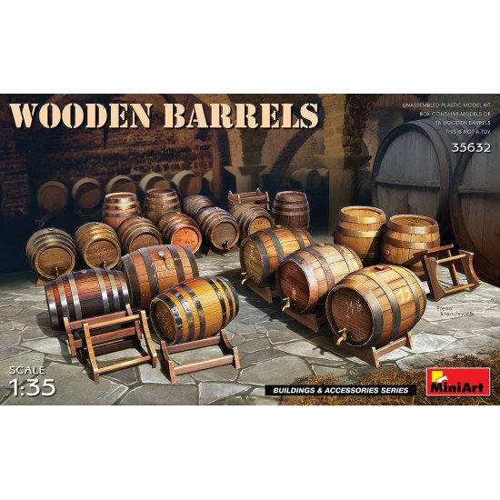 Miniart 35632 - 1/35 Wooden Barrels (Buildings and Accessories), scale model kit