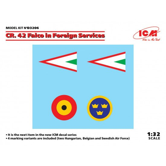 ICM D3206 - 1/32 - Decal for CR. 42 Falco in Foreign Services for scale model kit