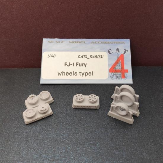 CAT4 R48031 - 1/48 FJ-1 Fury wheels type 1, scale model accessories kit