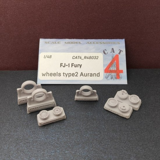 CAT4 R48032 - 1/48 FJ-1 Fury wheels type 2 Aurand, scale model accessories kit