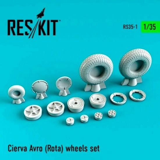 Reskit RS35-0001 - 1/35 Cierva Avro (Rota) wheels set scale plastic model kit