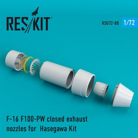 Reskit RSU72-0088 - 1/72 F-16 F100-PW closed exhaust nozzles for Hasegawa Kit