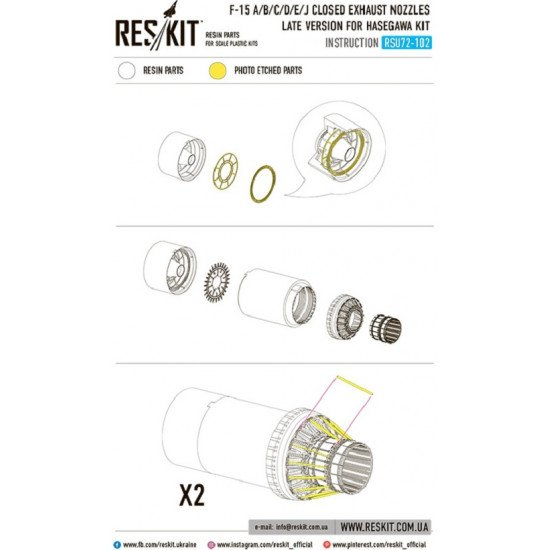 Reskit RSU72-0102 - 1/72 F-15 Eagle closed exhaust nozzles for HASEGAWA Kit