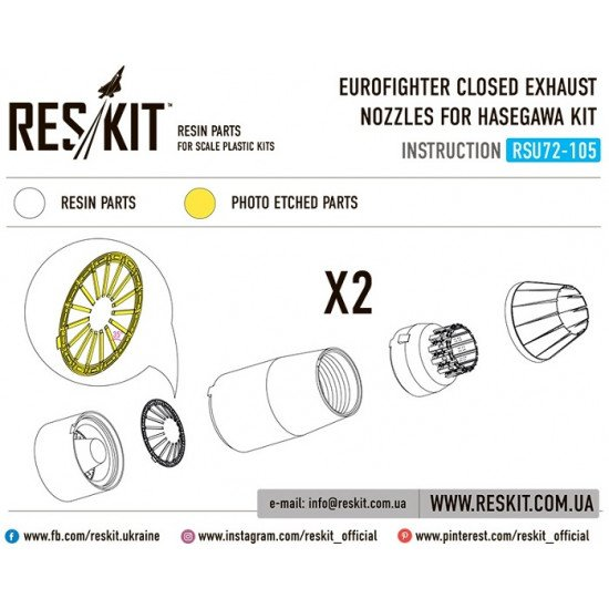 Reskit RSU72-0105 - 1/72 Eurofighter closed exhaust nozzles for HASEGAWA Kit