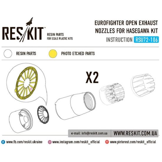 Reskit RSU72-0106 - 1/72 Eurofighter open exhaust nozzles for HASEGAWA Kit