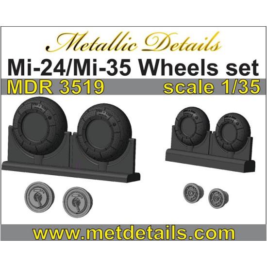 Metallic Details MDR3519 - 1/35 Mi-24/Mi-35. Wheels set for aircraft model kit
