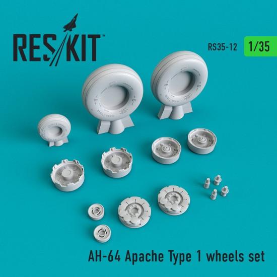 Reskit RS35-0012 - 1/35 - AH-64 Apache Type 1 wheels set for aircraft model