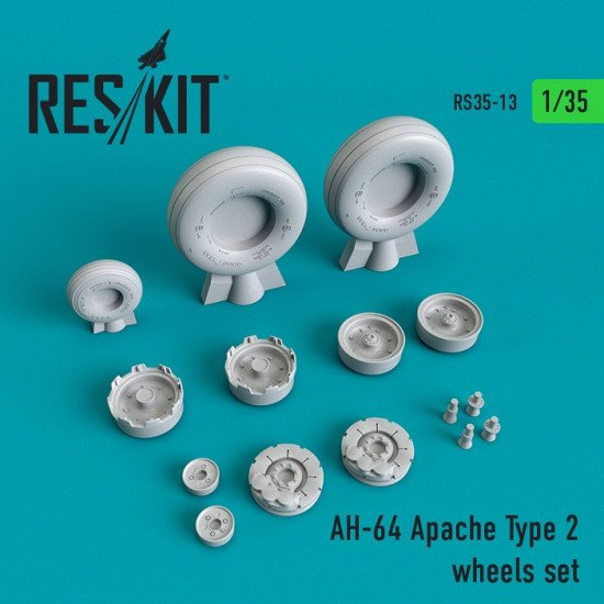 Reskit RS35-0013 - 1/35 - AH-64 Apache Type 2 wheels set for aircraft model