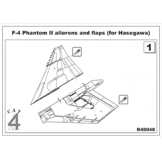 CAT4 R48048 - 1/48 F-4 Phantom II ailerons and flaps (for Hasegawa) scale model