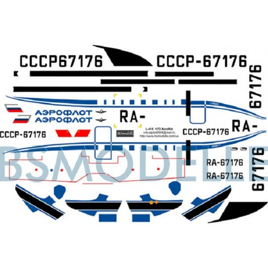 BSmodelle 72014 - 1/72 Let L-410 Aeroflot decal for aircraft model scale kit