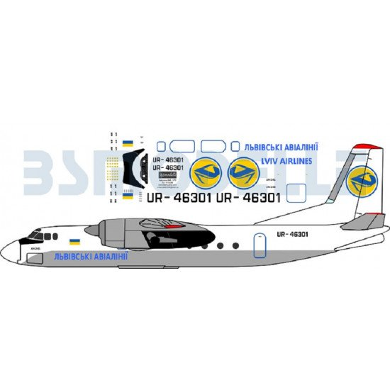 BSmodelle 72015 - 1/72 Antonov An-24 Lviv airlines decal for aircraft model kit