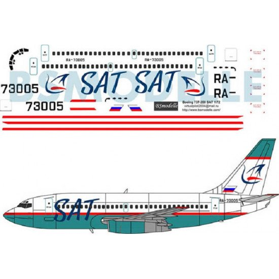 BSmodelle 72019 - 1/72 Boeing 737 SAT decal for plastic aircraft model scale kit