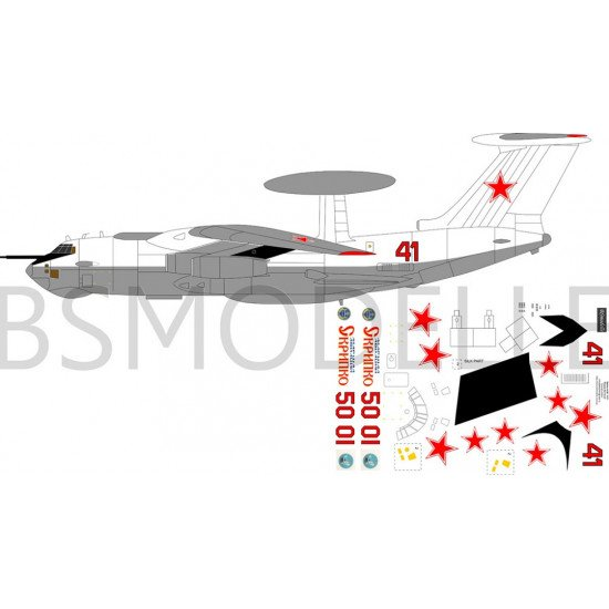 BSmodelle 72021 - 1/72 Beriev A-50\Ilyushin Il-76 MD decal for plastic aircraft