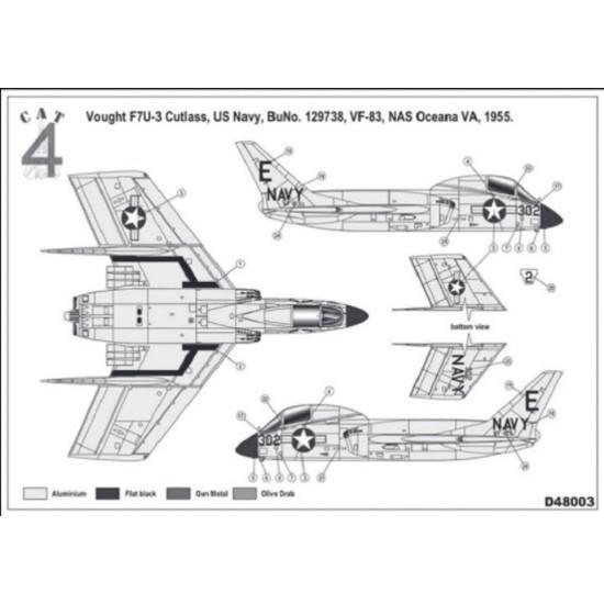 CAT4 D48003 - 1/48 Vought F7U-3 Cutlass US Navy scale plastic model aircraft