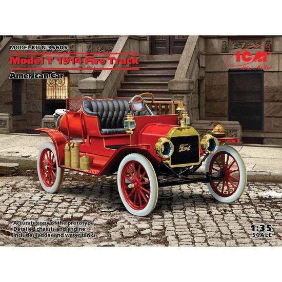 ICM 35605 - 1/35 Model T 1914 Fire Truck American Car. Scale plastic model kit