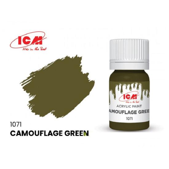 ICM 1071 - Acrylic paint, Camouflage Green. Volume, ml: 12. Waterproof