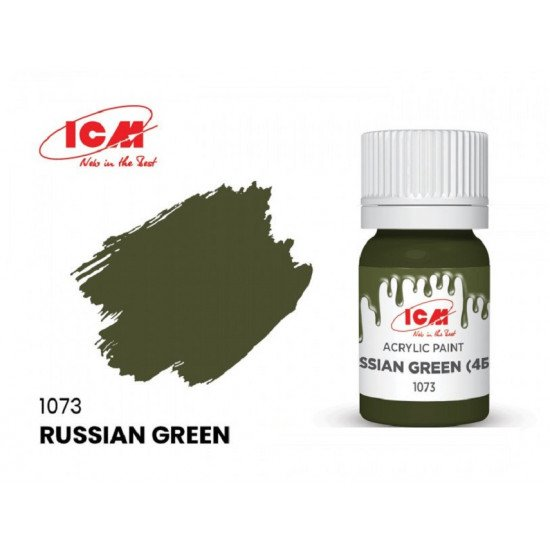 ICM 1073 - Acrylic paint, Russian tank green. Volume, ml: 12. Waterproof