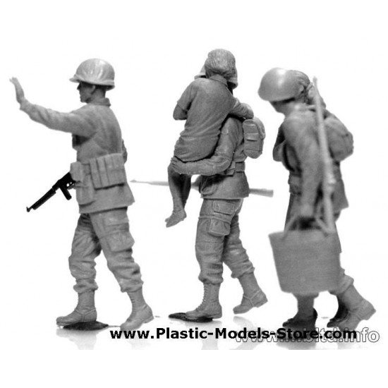 US SOLDIERS AND CIVILIANS FRANCE PLASTIC MODEL MILITARY FIGURE 1/35 Master Box 3578