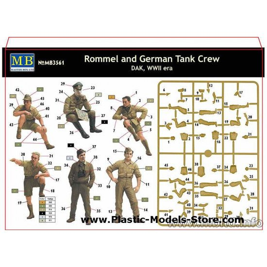 Rommel and German Tank Crew, DAK WWII 1/35 Master Box 3561